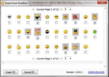 Inserting lots of cool emoticons