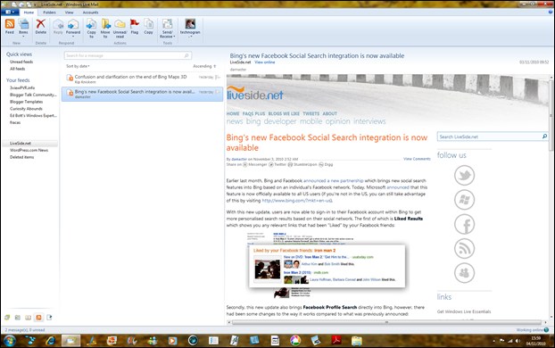 Reading a blog RSS feed in Windows Live Mail