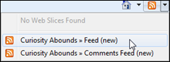 Here's Anne's feed drop down from the RSS in IE8