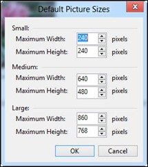 Setting your default sizes of photos